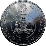 Australia 20 Cents 50 Years of Decimal Currency 2016  ELIZABETH II AUSTRALIA 2016 FIFTY YEARS ADVANCE AUSTRALIA coin obverse