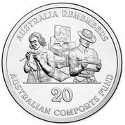 Australia 20 Cents Australia Remembers - Australians Comforts Fund 2014  AUSTRALIA REMEMBERS AUSTRALIAN COMFORTS FUND ACF 20 coin reverse