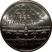 Australia 20 Cents Bomber Command 2016  20 BOMBER COMMAND coin reverse