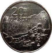 Australia 20 Cents Dogs at War 2016  20 DOGS AT WAR coin reverse