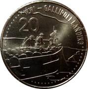Australia 20 Cents Gallipoli Landing 2015  WW1 - GALLIPOLI LANDING 20 coin reverse