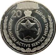 Australia 20 Cents Legends of the Anzacs - 1945-75 - Australian Active Service Medal 2017 UNC 20 AUSTRALIAN ACTIVE SERVICE MEDAL 1945 - 1975 THE AUSTRALIAN ACTIVE SERVICE MEDAL 1945 - 1975 coin reverse