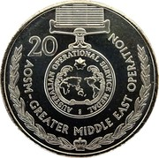 Australia 20 Cents Legends of the Anzacs - Australian Operational Service 2017 UNC AUSTRALIAN OPERATIONAL SERVICE MEDAL AOSM - GREATER MIDDLE EAST OPERATION 20 coin reverse