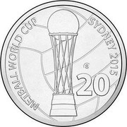 Australia 20 Cents Netball World Cup 2015 NETBALL WORLD CUP SYDNEY 2015 20 coin reverse