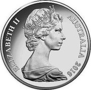 Australia 20 Cents Queen Elizabeth II 90th Birthday 2016  ELIZABETH II AUSTRALIA 2016 coin obverse
