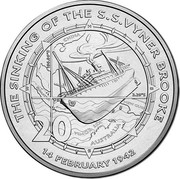 Australia 20 Cents Sinking of The SS Vyner Brooke 2017 UNC THE SINKING OF THE S.S. VYNER BROOKE. 14 FEBRUARY 1942 coin reverse