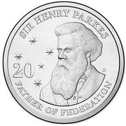 Australia 20 Cents Sir Henry Parkes 2015  SIR HENRY PARKES 20 FATHER OF FEDERATION coin reverse