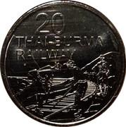 Australia 20 Cents Thai Burma Railway 2016  20 THAI-BURMA RAILWAY coin reverse
