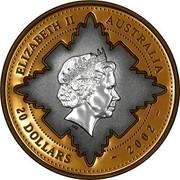 Australia 20 Dollars Golden Jubilee 2002 KM# 634 ELIZABETH II AUSTRALIA 20 DOLLARS ~ 2002 ~ IRB coin obverse