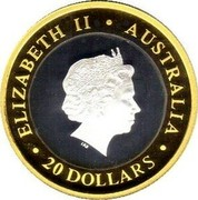 Australia 20 Dollars Gregorian Millenium 2001 KM# 595 ELIZABETH II AUSTRALIA 20 DOLLARS IRB coin obverse