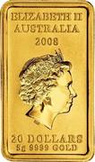Australia 20 Dollars Kangaroo dreaming 2008 Proof KM# 1109 ELIZABETH II AUSTRALIA 2008 20 DOLLARS 5G 9999 GOLD coin obverse