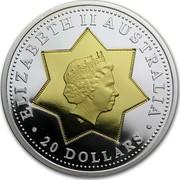 Australia 20 Dollars National Arms 2001 KM# 597 ELIZABETH II AUSTRALIA 20 DOLLARS IRB coin obverse