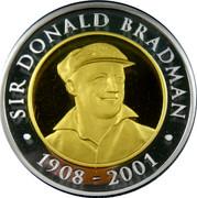 Australia 20 Dollars Sir Donald Bradman 2001 KM# 760 SIR DONALD BRADMAN 1908-2001 coin reverse