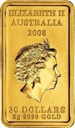 Australia 20 Dollars Turtle Dreaming 2008 Proof KM# 1105 ELIZABETH II AUSTRALIA 2008 20 DOLLARS 8G 9999 GOLD IRB coin obverse