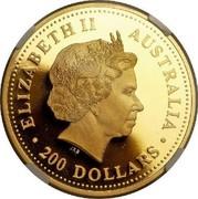 Australia 200 Dollars Australian Kangaroo 2001 KM# 896 ELIZABETH II AUSTRALIA 200 DOLLARS IRB coin obverse
