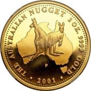 Australia 200 Dollars Australian Kangaroo 2001 KM# 896 THE AUSTRALIAN NUGGET 2 OZ. 9999 GOLD 2001 P MG coin reverse