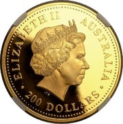 Australia 200 Dollars Australian Kangaroo 2002 KM# 901 ELIZABETH II AUSTRALIA 200 DOLLARS IRB coin obverse