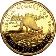 Australia 200 Dollars Australian Kangaroo 2002 KM# 901 THE AUSTRALIAN NUGGET 2 OZ. 9999 GOLD 2002 P coin reverse