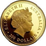 Australia 200 Dollars Australian Kangaroo 2003 KM# 905 ELIZABETH II AUSTRALIA 200 DOLLARS IRB coin obverse
