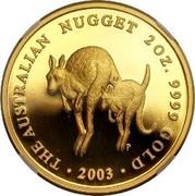 Australia 200 Dollars Australian Kangaroo 2003 KM# 905 THE AUSTRALIAN NUGGET 2 OZ. 9999 GOLD 2003 P LF coin reverse