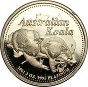Australia 200 Dollars Australian Koala 2001 KM# 920 AUSTRALIAN KOALA 2001 2 OZ. 9995 PLATINUM P LK coin reverse
