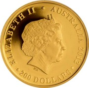 Australia 200 Dollars Koala sleeping 2012 P Proof KM# 1846 ELIZABETH II • AUSTRALIA 2012 • 200 DOLLARS • IRB coin obverse