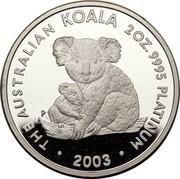 Australia 200 Dollars The Australian Koala 2003 KM# 929 THE AUSTRALIAN KOALA 2 OZ. 9995 PLATINUM 2003 P JR coin reverse