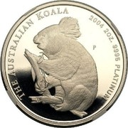Australia 200 Dollars The Australian Koala 2004 KM# 934 THE AUSTRALIAN KOALA 2004 2 OZ. 9995 PLATINUM P TF coin reverse