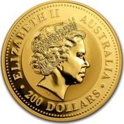 Australia 200 Dollars Year of the Goat 2003 Proof KM# 714 ELIZABETH II AUSTRALIA 200 DOLLARS IRB coin obverse