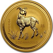 Australia 200 Dollars Year of the Goat 2003 Proof KM# 714 2003 2 OZ 9999 GOLD coin reverse