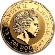 Australia 200 Dollars Year of the Monkey 2004 KM# 717 ELIZABETH II AUSTRALIA 200 DOLLARS IRB coin obverse