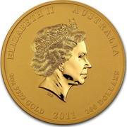 Australia 200 Dollars Year of the Rabbit 2011 KM# 1486 ELIZABETH II AUSTRALIA 2 OZ 9999 GOLD 2011 200 DOLLARS coin obverse