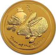 Australia 200 Dollars Year of the Rabbit 2011 KM# 1486 YEAR OF THE RABBIT P coin reverse
