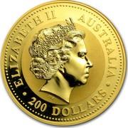 Australia 200 Dollars Year of the Rooster 2005 KM# 698 ELIZABETH II AUSTRALIA 200 DOLLARS IRB coin obverse
