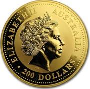 Australia 200 Dollars Year of the Snake 2001 KM# 704 ELIZABETH II AUSTRALIA 200 DOLLARS IRB coin obverse