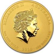 Australia 200 Dollars Year of the Tiger 2010 KM# 1377 ELIZABETH II AUSTRALIA 2 OZ 9999 GOLD 2010 200 DOLLARS IRB coin obverse