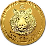 Australia 200 Dollars Year of the Tiger 2010 KM# 1377 YEAR OF THE TIGER P coin reverse