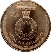 Australia 25 Cents Legends of the Anzacs - Medal for Gallantry 2017  FOR GALLANTRY 25 MEDAL FOR GALLANTRY coin reverse