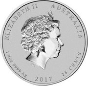 Australia 25 Cents Lunar Rooster 2017 Proof ELIZABETH II AUSTRALIA 1/4 OZ 9999 AG 2017 25 CENTS IRB coin obverse