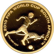 Australia 25 Dollars 2010 FIFA World Cup - South Africa 2009 P Proof KM# 1247 2010 FIFA WORLD CUP SOUTH AFRICA™ 1/4OZ 9999 GOLD P coin reverse
