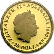 Australia 25 Dollars Australia Sovereign 2009 KM# 1397 ELIZABETH II AUSTRALIA 1009 25 DOLLARS IRB coin obverse
