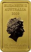Australia 25 Dollars Chinese Mythological Character - Fortune 2009 P KM# 1276 ELIZABETH II AUSTRALIA 2009 25 DOLLARS 10G 9999 GOLD coin obverse