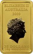 Australia 25 Dollars Chinese Mythological Character - Longevity 2009 P KM# 1274 ELIZABETH II AUSTRALIA 2009 25 DOLLARS 10G 9999 GOLD coin obverse