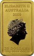 Australia 25 Dollars Chinese Mythological Character - Success 2009 P KM# 1275 ELIZABETH II AUSTRALIA 2009 25 DOLLARS 10G 9999 GOLD coin obverse