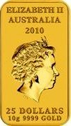 Australia 25 Dollars Dolphin Dreaming 2010 KM# 1455 ELIZABETH II AUSTRALIA 2010 25 DOLLARS 10 G 9999 GOLD coin obverse