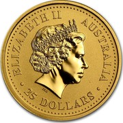 Australia 25 Dollars Galloping Horse 2002 KM# 585 ELIZABETH II AUSTRALIA 25 DOLLARS coin obverse