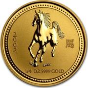 Australia 25 Dollars Galloping Horse 2002 KM# 585 2002 1/4 OZ 9999 GOLD coin reverse