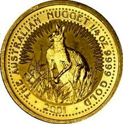 Australia 25 Dollars Kangaroo browsing 2002 KM# 898 THE AUSTRALIAN NUGGET 1/4 OZ 9999 GOLD 2001 coin reverse