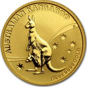 Australia 25 Dollars Kangaroo (constellation in background) 2009 P Proof KM# 1765 AUSTRALIAN KANGAROO 1/4OZ 9999 GOLD P coin reverse