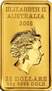 Australia 25 Dollars Kangaroo Dreaming 2008 Proof KM# 1110 ELIZABETH II AUSTRALIA 2008 25 DOLLARS 10G 9999 GOLD IRB coin obverse
